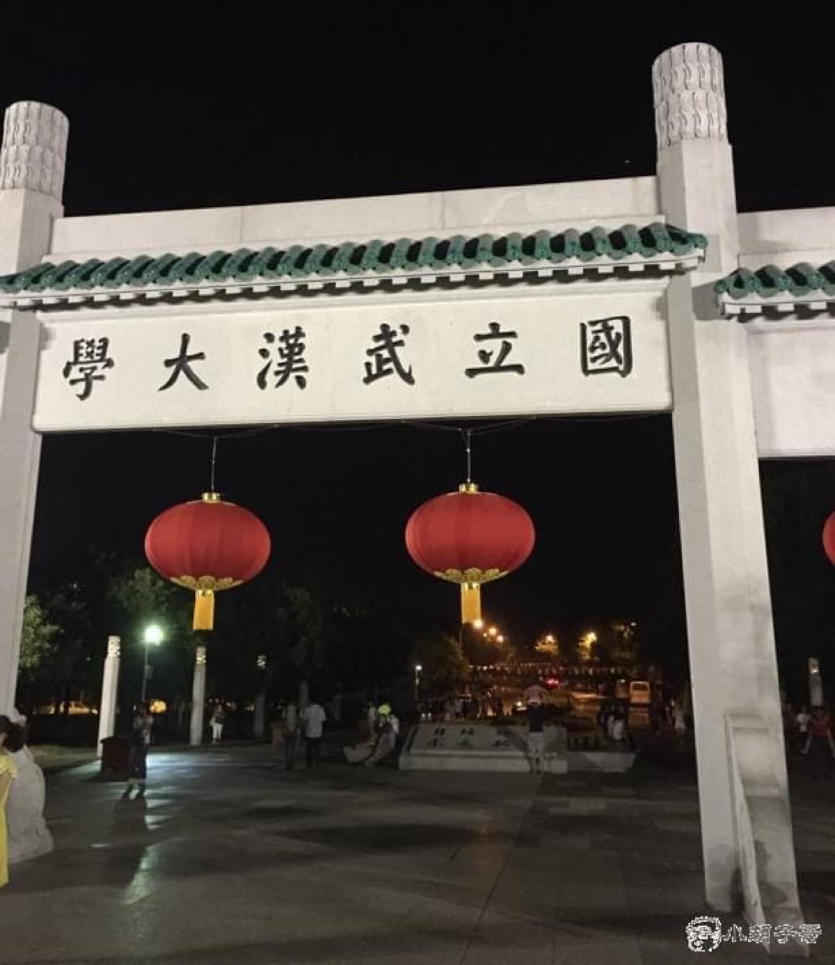 武大正门夜景